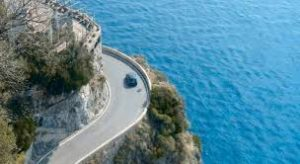 The narrow, winding road to Amalfi